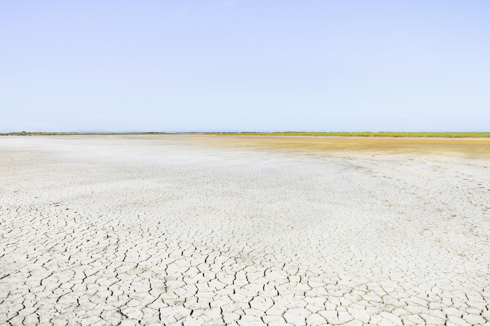 Camargue Rhone Park landscape, soil drought and horizon. Provence, France.